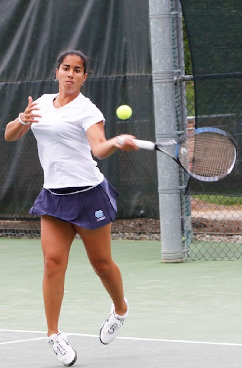 Sanaz Marand, ranked No. 30 in the nation, recorded three wins for UNC during weekend play. DTH/Alyssa Champion