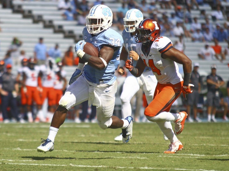 Elijah Hood scores a touchdown on a 28 yard run on Saturday Sept. 19