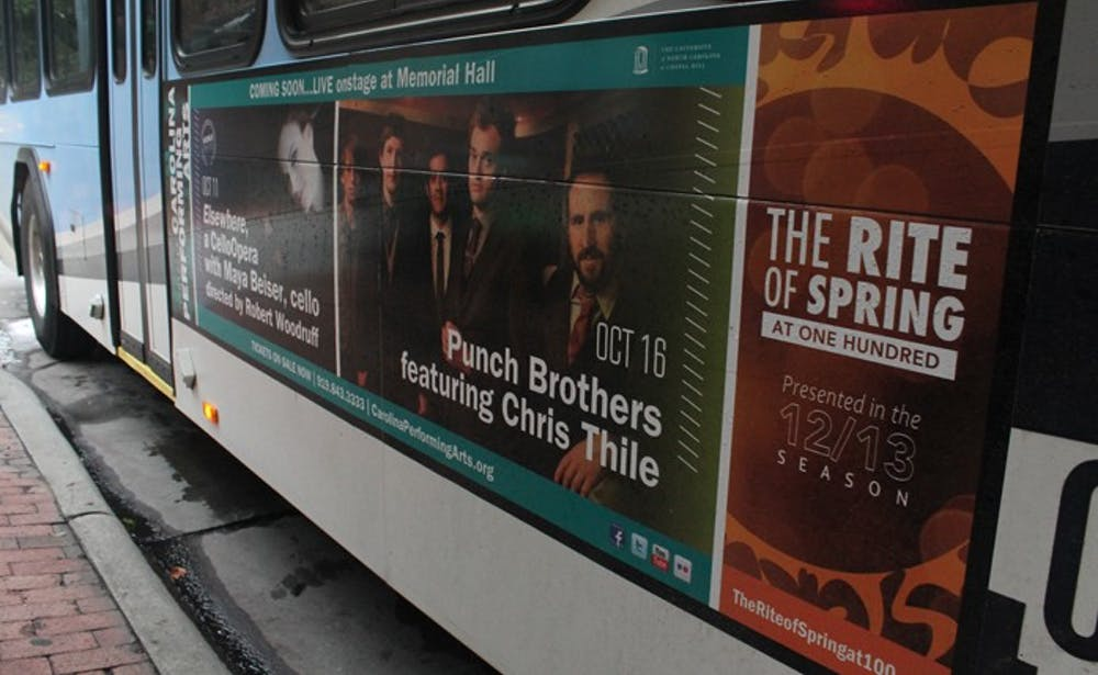 Advertising for CPA and Rite of Spring on Chapel Hill Transit Buses.