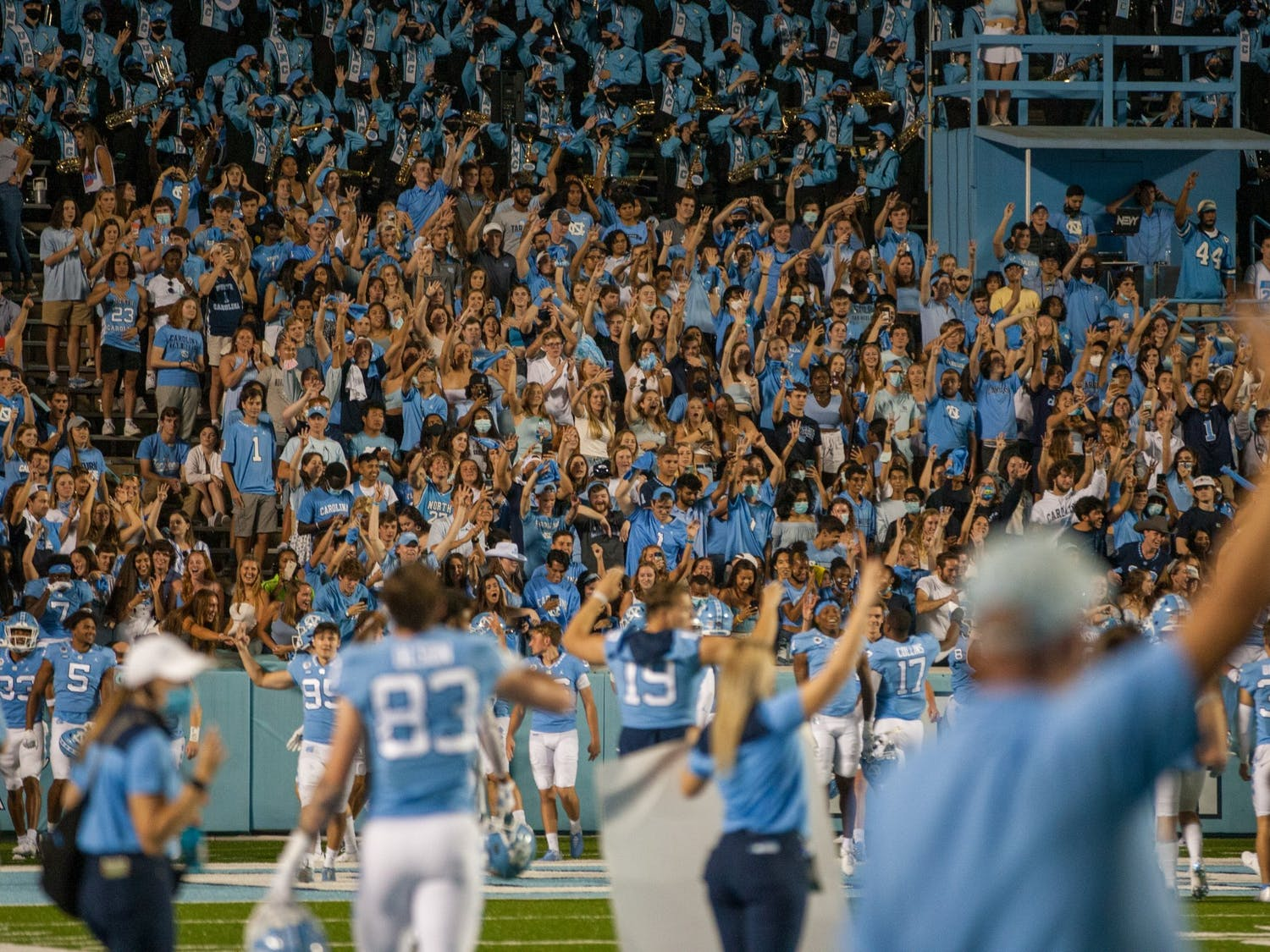 UNC fans celebrate a touchdown during the Tar Heels' home matchup in Kenan Memorial Stadium on Saturday, Sept. 11, 2021 against the Georgia State Panthers. The Tar Heels won 59-17.