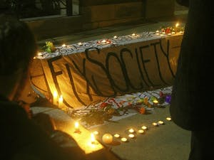 There was a vigil at Peace and Justice Plaza on Wednesday night, Jan. 28.