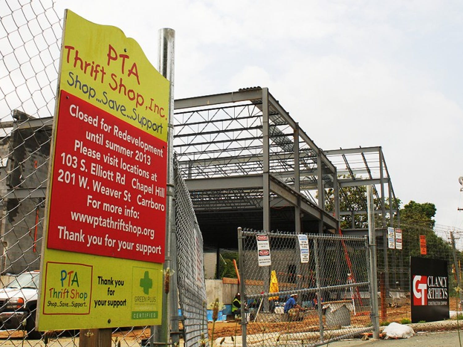 The construction of the new Carrboro PTA Thrift Shop is steadily progressing as it aims to reopen in early October.
