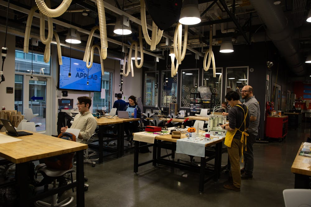 <p>Students use Murray Hall's BeAM Makerspace on Tuesday, Feb. 11, 2020.</p>