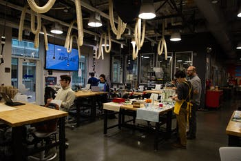 Students use Murray Hall's BeAM Makerspace on Tuesday, Feb. 11, 2020.