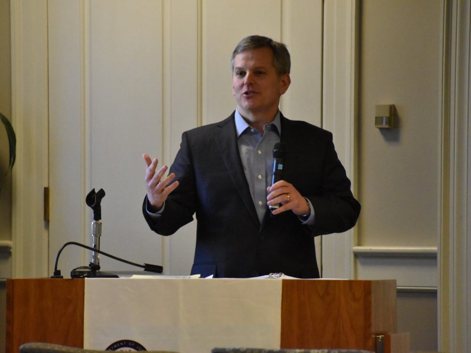 North Carolina Attorney General Josh Stein delivers a talk at UNC on Thursday afternoon about problems that affect college campuses.