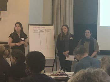 (Left to right) Dominika Goazdazinka, Ashley Heger and Allison De Marco make a list of the crowd's causes at the Carrboro Century Center. The goal of Monday's workshop was to educate community members how to make a difference in society.
