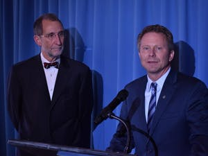 Interim UNC-Chapel Hill Chancellor Kevin Guskiewicz and interim UNC-system President Bill Roper address Guskiewicz's goals for this academic year and their mission for UNC's future at the Carolina Inn on Thursday, Feb. 7, 2019.