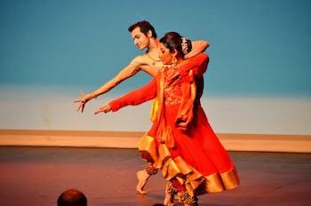 A fusion duet between Sudeshna Maulik, performing KATHAK and Rajesh Chenthy, performing Bharatanatyam. Photo courtesy of Prabha Aditya.