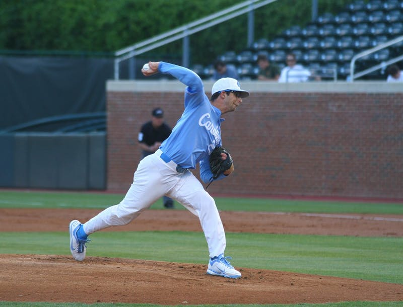 Zac Gallen (23) throws a pitch against Notre Dame. No. 17 North Carolina defeated Notre Dame 8-1 on Monday, May 16, 2016.