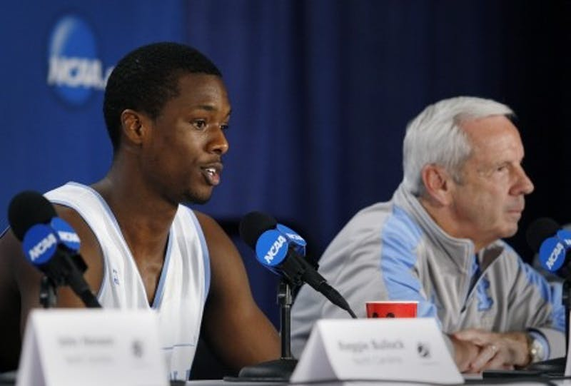 UNC forward Harrison Barnes answers a question at a press conference during North Carolina's 2012 NCAA tournament run.