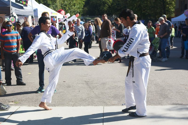 Tae Kwon Do United Academy showcase their student's skills during the Festifall event held on Franklin St. Sunday afternoon.