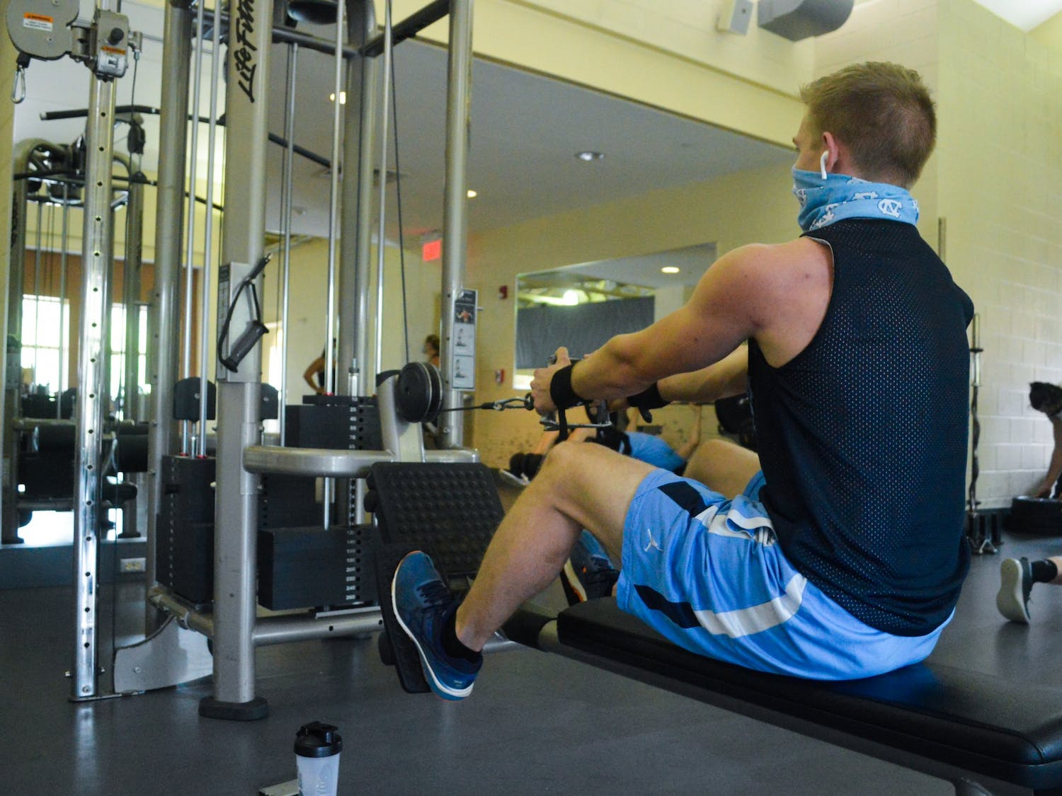 A student works out at the Ram's Head Recreation Center on Monday, Sept. 28, 2020.