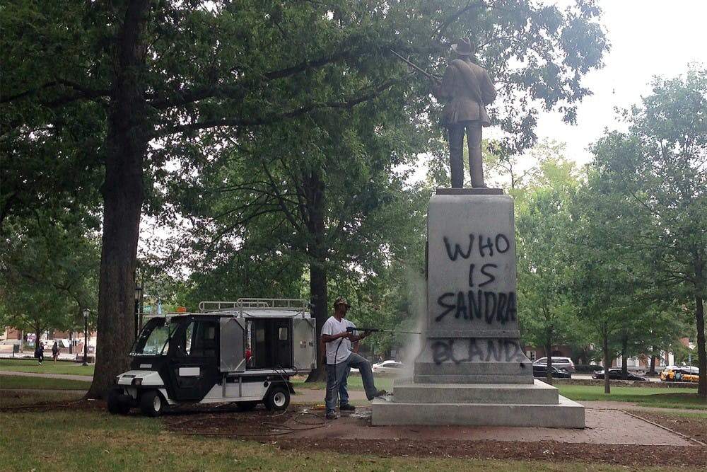 Silent Sam spray-painted with second message of racial protest
