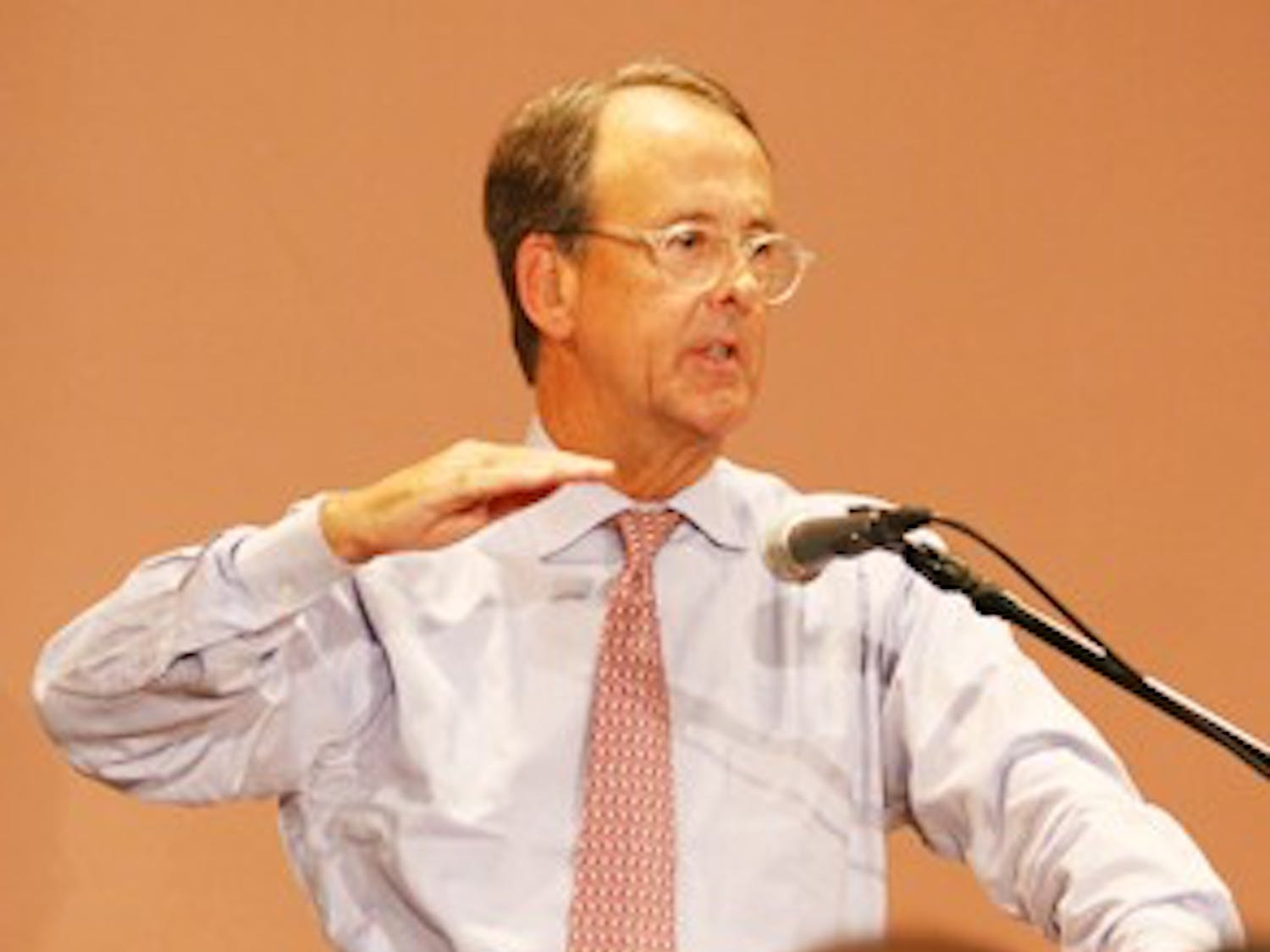 "Erskine Bowles came to UNC Thursday night to talk about the nation's defecit. ""These defecits are like a cancer, and they are literally going to destroy us from within."" he said."