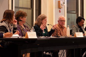 Orange County Board of Education member Sarah Smylie speaks at a joint school boards meeting between Orange County Public Schools, Chapel Hill-Carrboro City Schools and the Board of County Commissioners. The meeting took place on Tuesday, Feb. 25, 2020 at the Whitted Building in Hillsborough, N.C.
