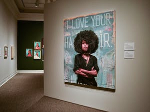 "Tim Okamura's ""I Love Your Hair"". Oil and mixed media on canvas, 2013. Okamura explores mixed media art to portray his love of hip-hop and create a sense of urban identity."
