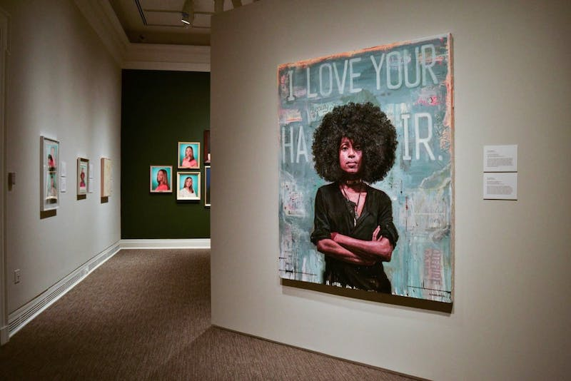 "Tim Okamura's ""I Love Your Hair"". Oil and mixed media on canvas, 2013. Okamura explores mixed media art to portray his love of hip-hop and create a sense of urban identity."