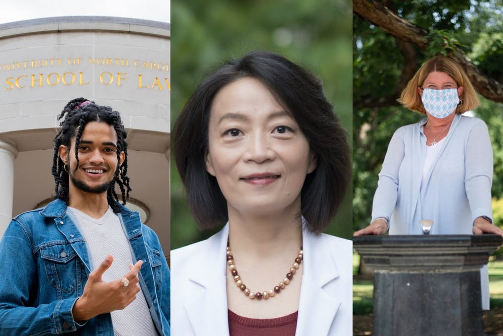 Zachary Boyce (left) and Hongbin Gu (middle) are running against incumbent Pam Hemminger (right) for Chapel Hill mayor this November. Middle photo courtesy of Hongbin Gu.