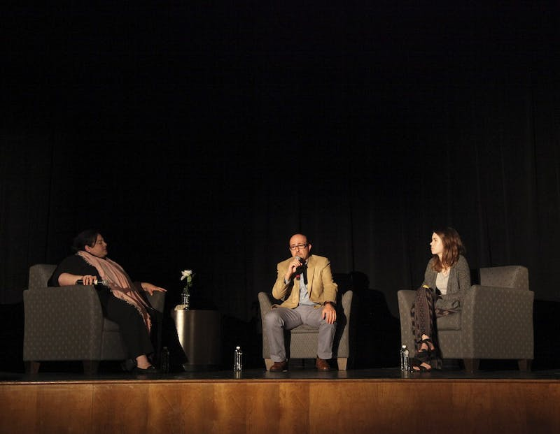 "The UNC Arab Students Organization holds a Q&A with director Sam Kadi (center)  after a screening of the film  ""Little Gandhi"" in the Student Union auditorium on Wednesday night."