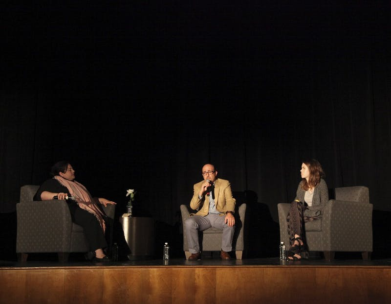 """The UNCArab Students Organization holds a Q&A with director Sam Kadi (center)  after a screening of the film  """"Little Gandhi"""" in the Student Union auditorium on Wednesday night."""