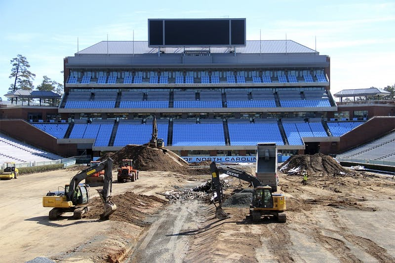 In March, construction crews worked on Kenan Stadium.
