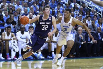 Senior forward Kennedy Meeks (3) guards against Steve Vasturia (32) on Sunday afternoon in Greensboro. Meeks is the Tar Heels' highest-usage big man and will be crucial down the stretch as UNC sets its sights on the Final Four.