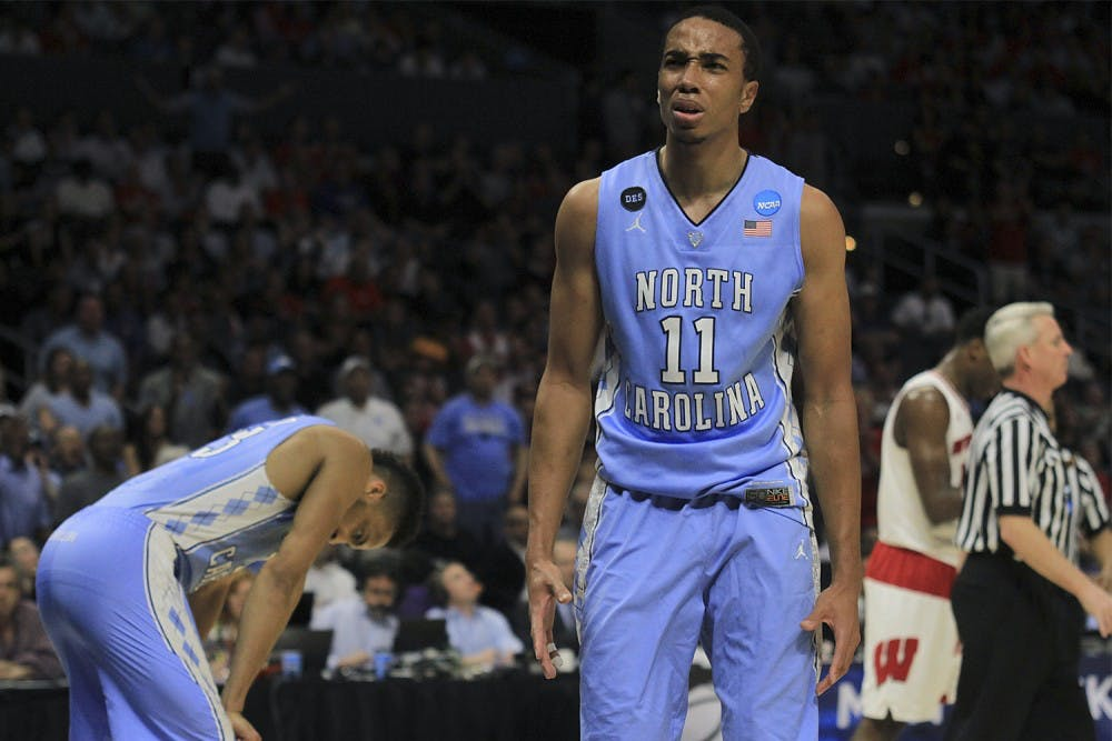 <p>The Tar Heels lost 72-79 to Wisconsin on Thursday night in Los Angeles. Brice Johnson (11) scored 15 points against the Badgers.</p>