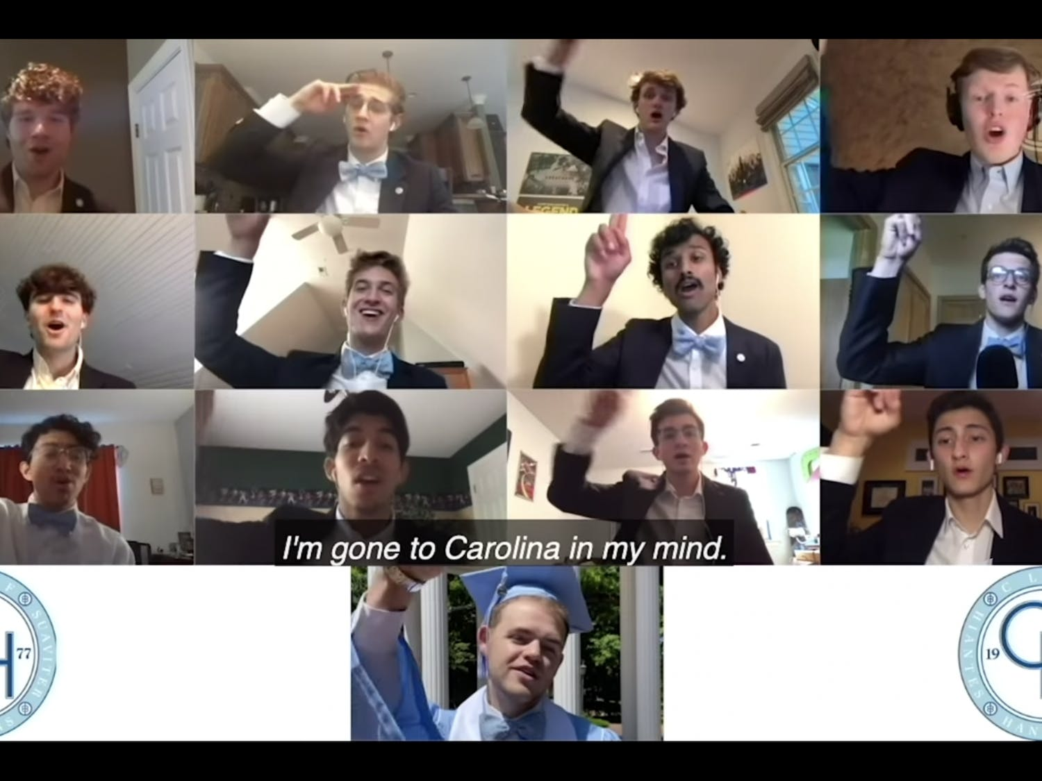 """The Clef Hangers, a UNC a capella group, perform """"Carolina in my Mind"""" for the Class of 2020 commencement ceremony. Due to the COVID-19 pandemic, the ceremony had to be held online, but some traditions such as performances by the a capella groups were still held."""