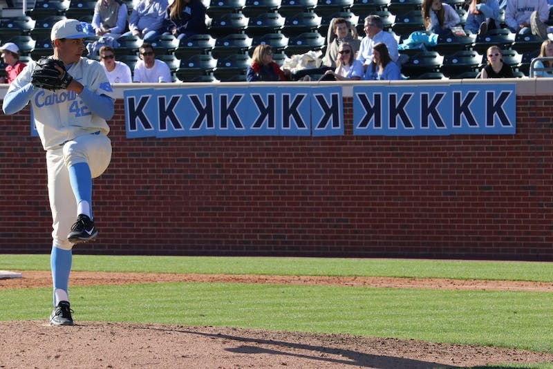 North Carolina pitcher Luca Dalatri (42) struck out 15 batters at Sunday's game against Radford. It was the most strikeouts thrown by a UNC pitcher since Matt Harvey in 2010.