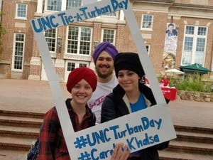 UNC students participate in Carolina Khalsa's Tie a Turban Day last year. This year's event will be Friday in the Pit at 10:30 a.m. Photo courtesy of Kulpreet Singh.