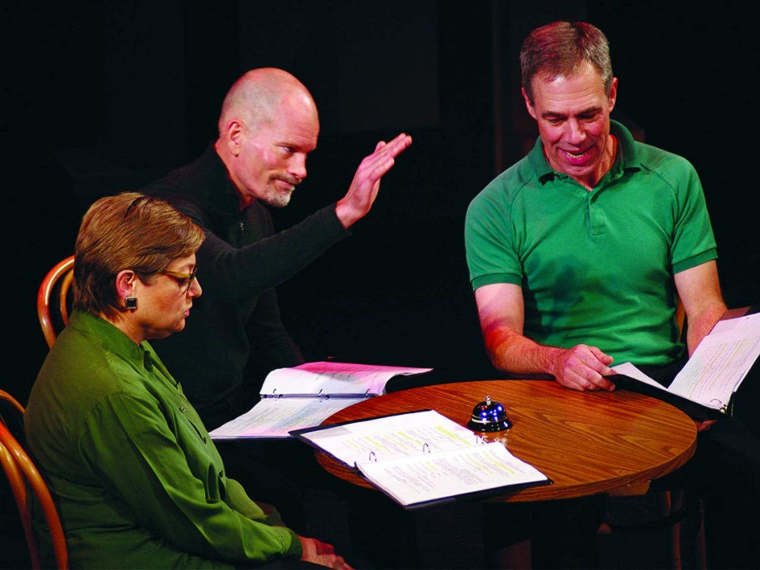 """Jim Bullock, a member of the graduating class in the Writing for the Screen and Stage Program at UNC, wrote """"When the Bell Rights, You Shut the **** Up,"""" a one-act play that was part of """"Long Story Shorts."""" This was performed at the Center for Dramatic Art. The actors present are Elisabeth Lewis Corley (left), John Paul Middlesworth (right), and Gren Hohn (middle)."""