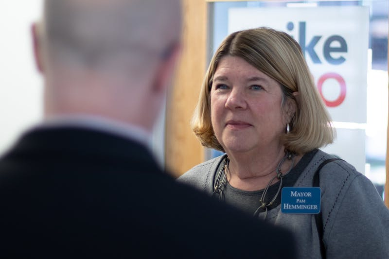"Chapel Hill mayor Pam Hemminger during a Bloomberg 2020 ""strategy session"" at the campaign's Chapel Hill office."