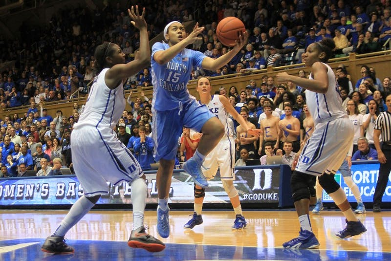 Sophomore guard Allisha Gray (15) led with 20 points against Duke Sunday afternoon. Gray made seven of 15 field goal attempts and eight total rebounds.