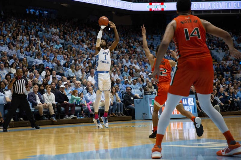 Sophomore guard, Leaky Black (1) attempts a three-pointer during the first half against Miami on Saturday, Jan. 25, 2020 at the Smith Center. UNC leads 51-27.