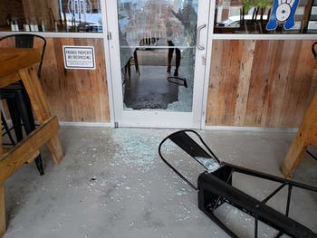 The storefronts of Sup Dogs and what was Tama Tea have been shattered. According to the Town, it seems no one entered the building, but instead through chairs to shatter the glass. Photos by Anna Pogarcic & Erin O'Rourke.