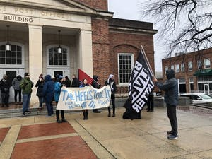 Student activists gathered early Sunday to counter protest a planned Silent Sam demonstration by Heirs to the Confederacy. The group never showed, but a few dozen students were present at the event.