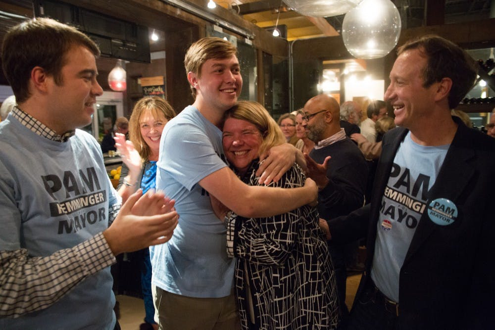 <p>Chapel Hill mayor Pam Hemminger celebrated the news of her reelection at City Kitchen on Tuesday night.&nbsp;</p>