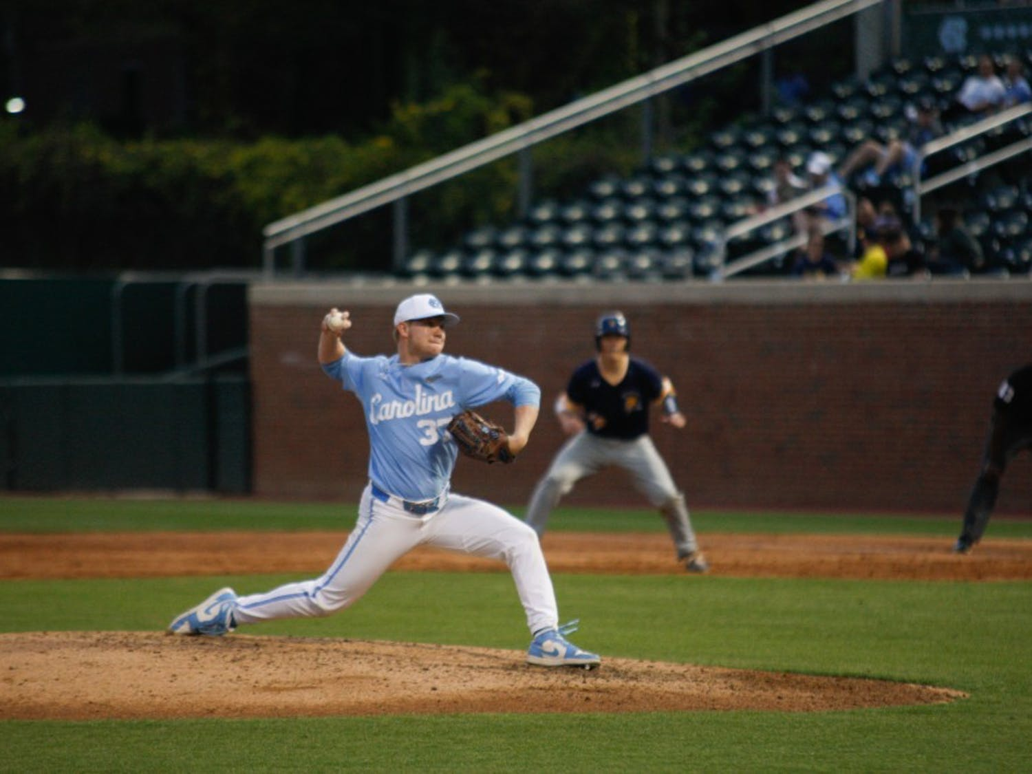 UNC junior pitcher Andrew Grogan (37) pitched against UNCG for four innings in Boshamer Stadium on Wednesday, April 9, 2019. The Tar Heels beat the Spartans 17-4.