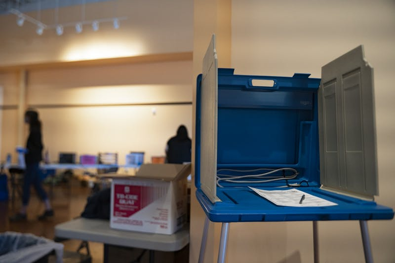 A ballot booth at University Place early voting site on Tuesday, Oct. 20, 2020.