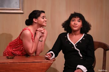 "Ciara DeJesus and Kayla Brown performing in the Kenan Theatre Company's production of ""By the Way, Meet Vera Stark,"" the Lillian Chason production for 2019. Photo courtesy of HuthPhoto."