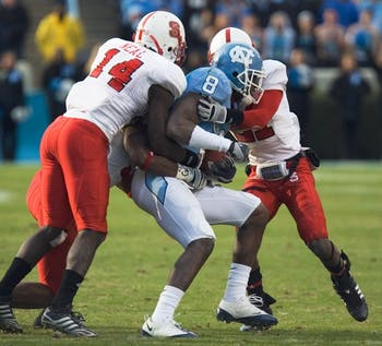 Greg Little (8) and the Tar Heels didn't get much offensive production last season when UNC fell to the Wolfpack 41-10. DTH ile