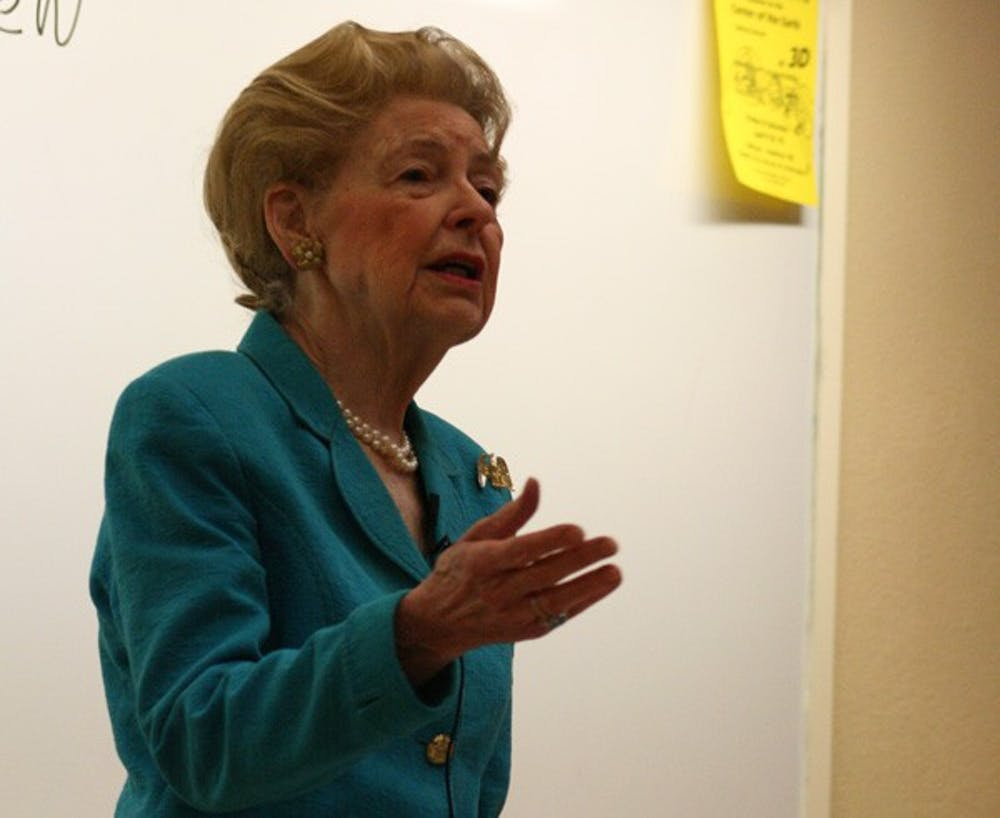 Phyllis Schlafly, president of the volunteer policy-making Eagle Forum, speaks Monday at Howell Hall. DTH/Duncan Culbreth