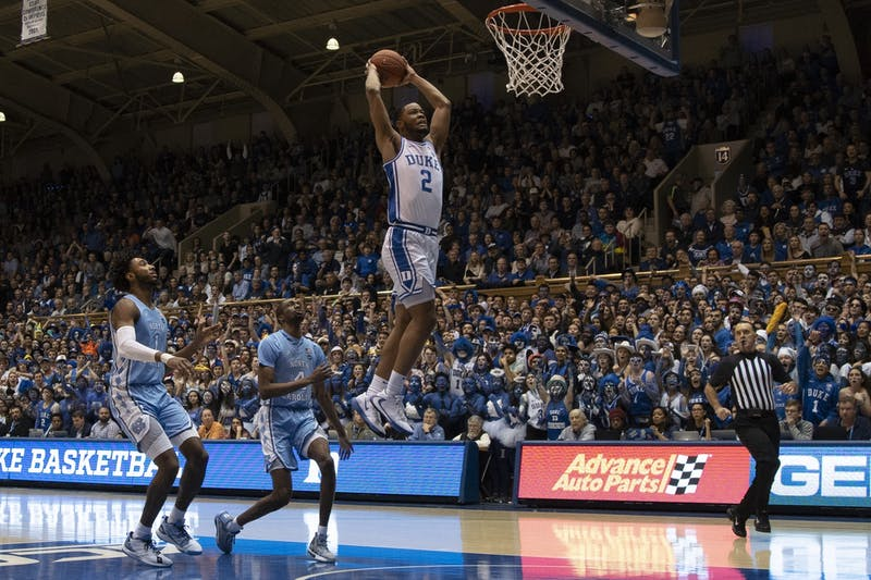 Duke first-year guard Cassius Stanley (2) dunks the ball in Cameron Indoor Stadium on Saturday, March 7, 2020. UNC lost to Duke 89-76.