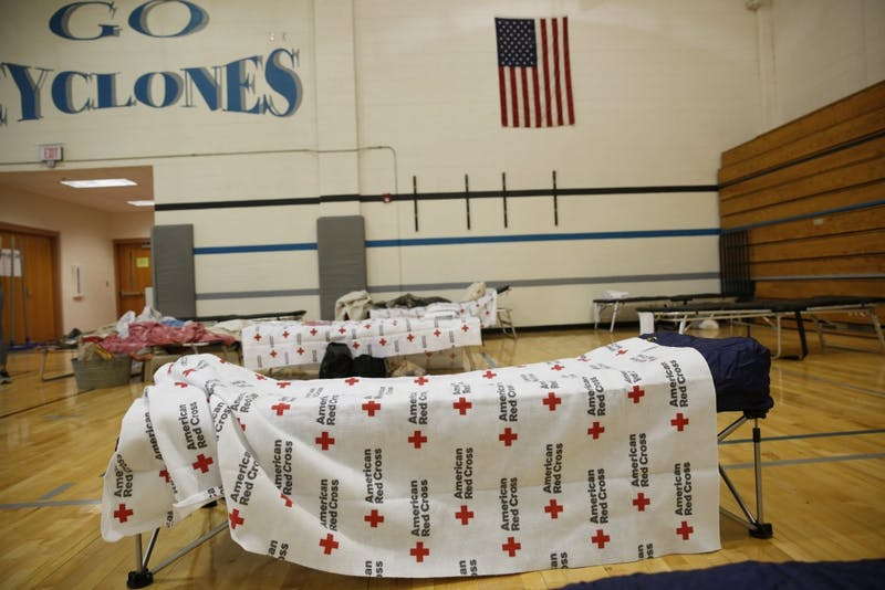 The American Red Cross, in partnership with the state of North Carolina, set up a hurricane shelter at Smith Middle School in Chapel Hill.