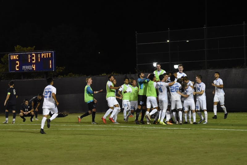 The Mens Soccer team beats Pittsburgh 2-1 in double overtime at Koskinen Stadium on Saturday night.