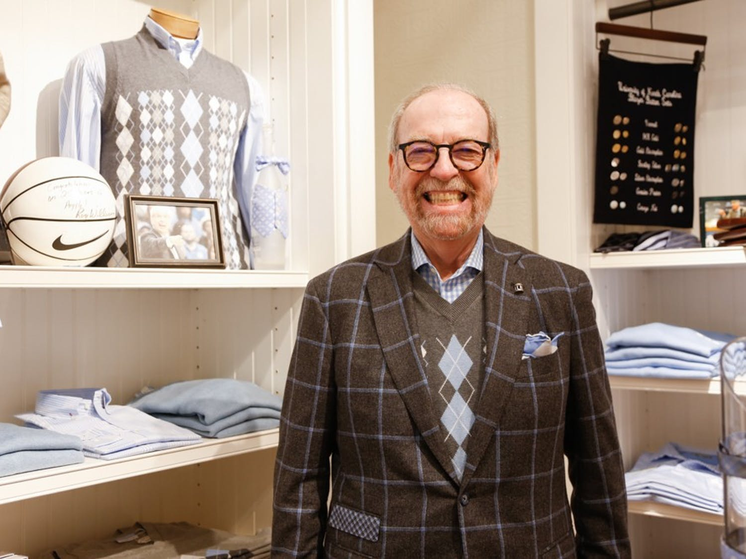 """Chapel Hill native and fashion designer Alexander Julian says, """"I'm not known for fashion anymore. I'm known for argyles"""". The Julian's storeowner redesigned the basketball team uniforms with and added the original argyle in 1991."""