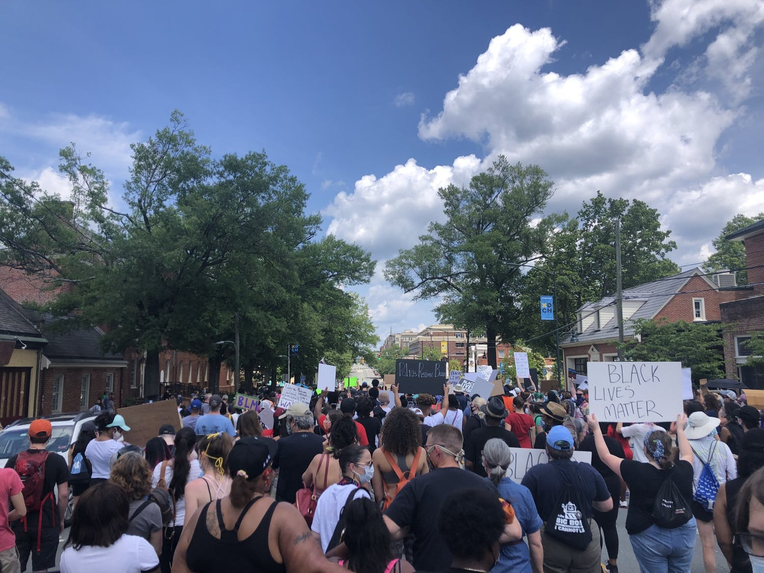 Protestors occupy West Franklin Street on Saturday, June 6, 2020 in continued rallys against police brutality held by the Chapel Hill-Carrboro NAACP Youth Council and Chapel Hill-Carrboro Youth Advocates.