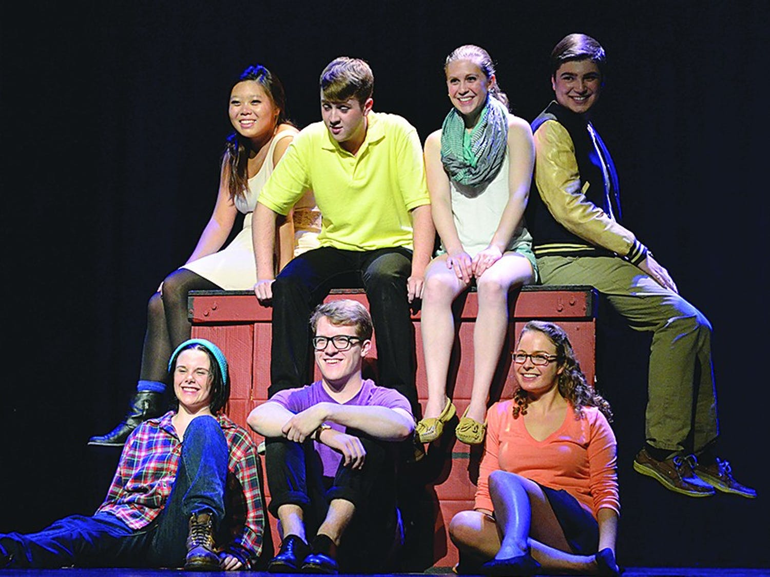 From left, Steffie Park, Connor Sturgis, Rachel Deason, Alex Ferraz, Mollie Paige Wilson, Wesley Darling, and Rachel Anderson act during a dress rehearsal of Dog Sees God: Confessions of a Teenage Blockhead. The play premieres on Friday evening and will run through Sunday.