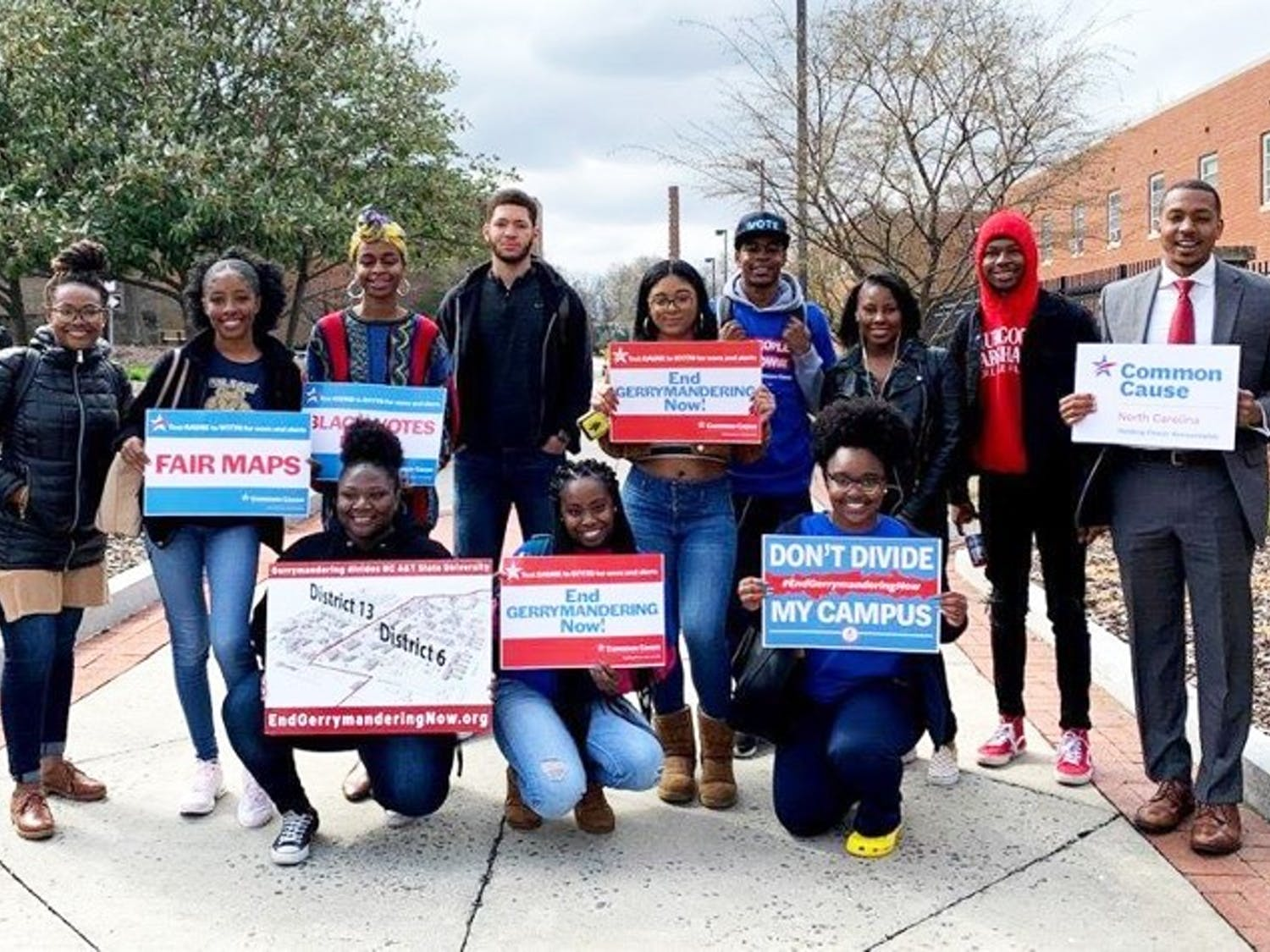 Students at NC A&T State University on Mar. 26, 2019, the same day the U.S. Supreme Court heard oral arguments in Common Cause v. Rucho, challenging partisan gerrymandering of North Carolina's congressional districts. The challenged map divided the campus of NC A&T State University into two different congressional districts. Photo courtesy of Bryan Warner.