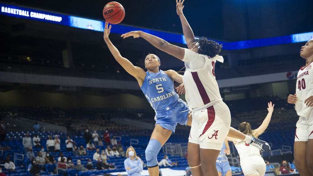 Stephanie Watts attempts a layup during a game against Alabama during the NCAA Tournament in San Antonio, Texas on Monday, March 22, 2021. UNC fell to Alabama 71-80. Photo courtesy of Dana Gentry.